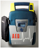 A typical Automatic External Defibrillator you might find in a public facility